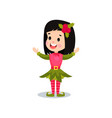 lovely smiling little girl in the costume of elf vector image