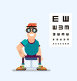 man checks his vision with glasses vector image vector image