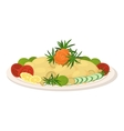 Meal on dish roast vegetables vector image