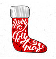 merry christmas in red sock on vintage background vector image vector image
