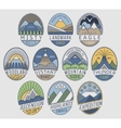 Mountain badges linear 2color vector image vector image