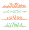 nature borders with colorful trees vector image vector image