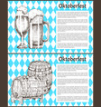 oktoberfest beer objects set hand drawn icons vector image vector image