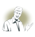 People in retro style Man makes inviting gesture vector image