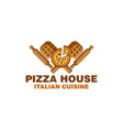 pizza house with wooden pizza peel and rolling vector image vector image