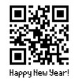 qr code sample with text happy new year vector image