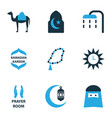 ramadan colorful icons set collection of clock vector image vector image
