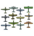 retro military airplanes isolated set vector image vector image