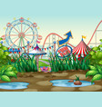 scene background design with circus rides vector image vector image