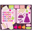 scrapbook elements with letters and clothes vector image vector image