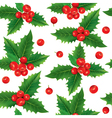 Seamless pattern of holly berries vector image