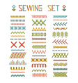 set of high detailed stitches and seams vector image