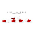 set of opened heart shape gifts box valentines vector image vector image