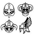 set viking helmets isolated on white vector image vector image