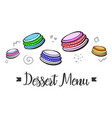 simple blank of menu with dessert sweets vector image