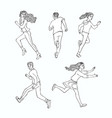 sketch running men ranaway women set vector image vector image