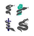 snake hand sword logo template design set vector image vector image