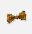 sticker checkered retro bow tie vector image vector image