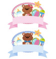 two label design with teddybears and toys vector image vector image