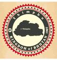 Vintage label-sticker cards of Kingdom of Bhutan