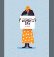 womens day card woman holding protest sign vector image