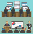 workstation with a group of workers web analytics vector image vector image