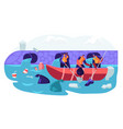 world ocean pollution people in boat plastic vector image vector image