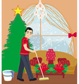 young man cleaning house before Christmas vector image vector image