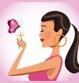 beatiful woman with flower and butterfly vector image