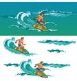 Surfing man on surfboard on sea waves vector image