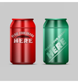 red and green aluminium beverage drink vector image