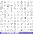 100 work space icons set outline style vector image vector image