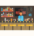 bar counter with barman stools and alcohol drink