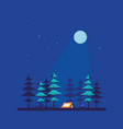 camping tent in forest flat style design vector image vector image
