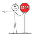 cartoon man or businessman holding red stop vector image vector image