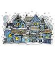 cartoon winter fairytale town vector image vector image