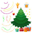 christmas tree and decorations set vector image vector image