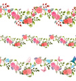 collection seamless borders with vintage floral vector image vector image