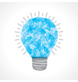 Creative light-bulb of helping hand vector image
