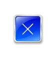Cross icon on blue button vector image vector image