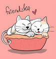 cute couple friendship cat hug each other on pink vector image vector image