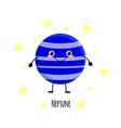 cute neptune planet kawaii characters vect vector image vector image