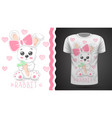 cute rabbit -idea for print t-shirt vector image