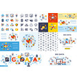 digital big data icons set vector image