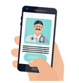 digital health concepts user using a phone to vector image vector image