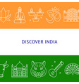 discover india concept banner in line style with vector image vector image