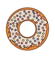 donut with white glazed and colored sparks vector image vector image