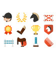 equestrian sport icon set isolate on white vector image vector image