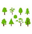 flat green tree icons set vector image