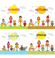four seasons spring summer autumn winter kids vector image vector image